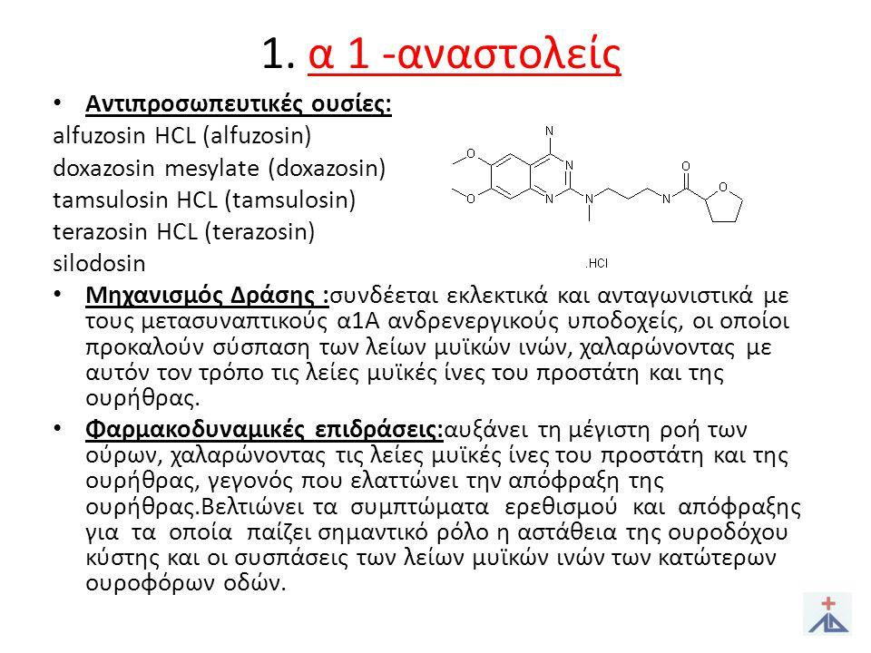 1.α 1 -αναστολείς • Αντενδείξεις: - Υπερευαισθησία στην φαρμ.
