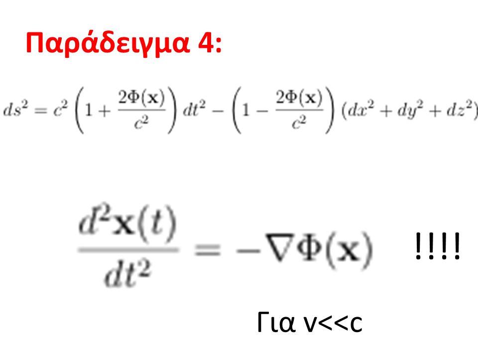 Η ΑΡΧΗ ΤΗΣ ΙΣΟΔΥΝΑΜΙΑΣ ΙΣΧΥΡΗ (IAI): Η Φυσική σε ένα σύστημα αναφοράς που πέφτει ελεύθερα στο πεδίο βαρύτητας είναι ισοδύναμη με τη Φυσική σε ένα αδρανειακό σύστημα χωρίς βαρύτητα Η Φυσική σε ένα σύστημα αναφοράς με μηδενική επιτάχυνση σε πεδίο βαρύτητας g είναι ισοδύναμη με τη Φυσική σε σύστημα χωρίς βαρύτητα, αλλά επιταχυνόμενο με Επιτάχυνση –g ΑΣΘΕΝΗΣ (AAI): Φυσική  Μηχανική m G =m I Gravitational redshift, καμπύλωση τροχιάς του φωτός σε βαρυτικό πεδίο, εξάρτηση του ρυθμού των ρολογιών από το βαρυτικό πεδίο, κ.τ.λ.