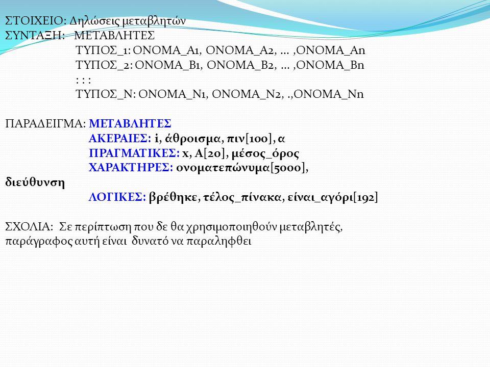 ΣΤΟΙΧΕΙΟ: Δηλώσεις μεταβλητών ΣΥΝΤΑΞΗ: ΜΕΤΑΒΛΗΤΕΣ ΤΥΠΟΣ_1: ΟΝΟΜΑ_Α1, ΟΝΟΜΑ_Α2,...,ΟΝΟΜΑ_Αn ΤΥΠΟΣ_2: ΟΝΟΜΑ_Β1, ΟΝΟΜΑ_Β2,...,ΟΝΟΜΑ_Βn : : : ΤΥΠΟΣ_Ν: ΟΝΟ