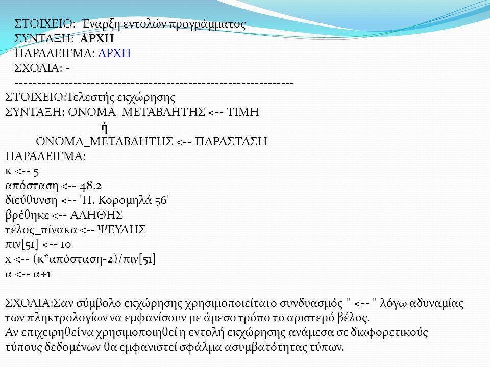 ΣΤΟΙΧΕΙΟ: Έναρξη εντολών προγράμματος ΣΥΝΤΑΞΗ: ΑΡΧΗ ΠΑΡΑΔΕΙΓΜΑ: ΑΡΧΗ ΣΧΟΛΙΑ: - --------------------------------------------------------------- ΣΤΟΙΧΕΙ