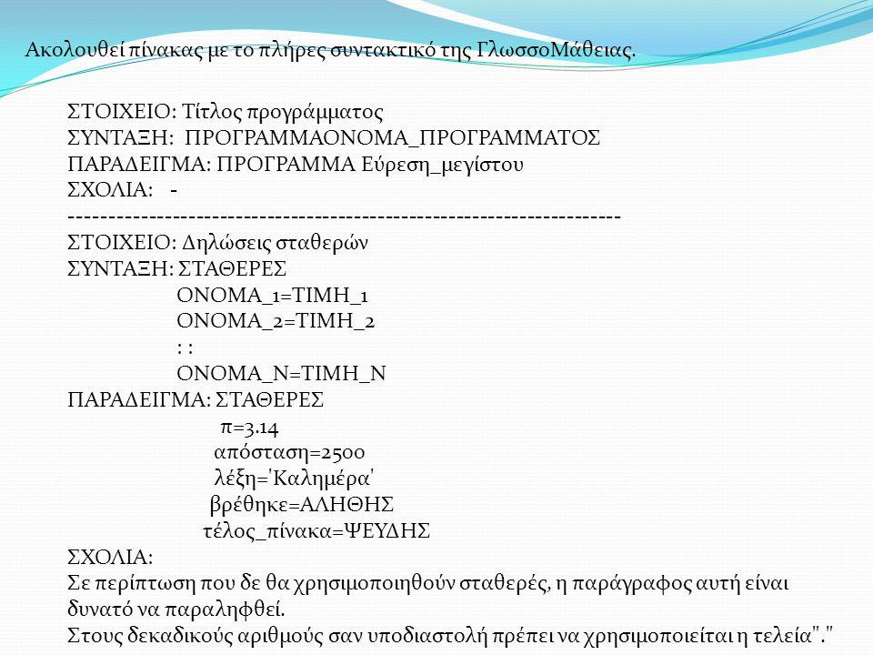 ΣΤΟΙΧΕΙΟ: Δηλώσεις μεταβλητών ΣΥΝΤΑΞΗ: ΜΕΤΑΒΛΗΤΕΣ ΤΥΠΟΣ_1: ΟΝΟΜΑ_Α1, ΟΝΟΜΑ_Α2,...,ΟΝΟΜΑ_Αn ΤΥΠΟΣ_2: ΟΝΟΜΑ_Β1, ΟΝΟΜΑ_Β2,...,ΟΝΟΜΑ_Βn : : : ΤΥΠΟΣ_Ν: ΟΝΟΜΑ_Ν1, ΟΝΟΜΑ_Ν2,.,ΟΝΟΜΑ_Νn ΠΑΡΑΔΕΙΓΜΑ: ΜΕΤΑΒΛΗΤΕΣ ΑΚΕΡΑΙΕΣ: i, άθροισμα, πιν[100], α ΠΡΑΓΜΑΤΙΚΕΣ: x, Α[20], μέσος_όρος ΧΑΡΑΚΤΗΡΕΣ: ονοματεπώνυμα[5000], διεύθυνση ΛΟΓΙΚΕΣ: βρέθηκε, τέλος_πίνακα, είναι_αγόρι[192] ΣΧΟΛΙΑ: Σε περίπτωση που δε θα χρησιμοποιηθούν μεταβλητές, παράγραφος αυτή είναι δυνατό να παραληφθει