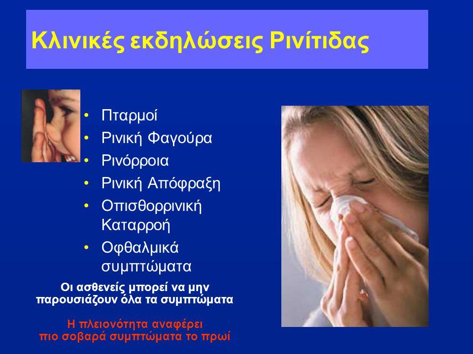 Κλινικές εκδηλώσεις Ρινίτιδας •Πταρμοί •Ρινική Φαγούρα •Ρινόρροια •Ρινική Απόφραξη •Οπισθορρινική Καταρροή •Οφθαλμικά συμπτώματα Οι ασθενείς μπορεί να
