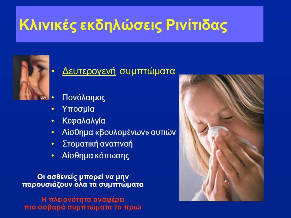Κλινικές εκδηλώσεις Ρινίτιδας •Δευτερογενή συμπτώματα •Πονόλαιμος •Υποσμία •Κεφαλαλγία •Αίσθημα «βουλομένων» αυτιών •Στοματική αναπνοή •Αίσθημα κόπωση