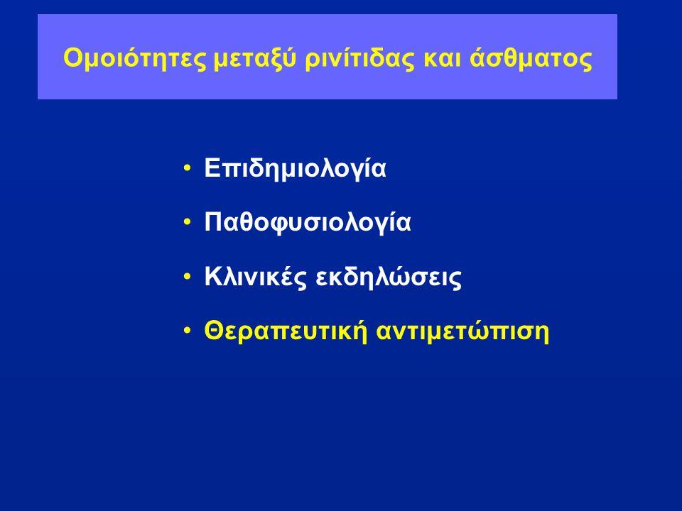 Ομοιότητες μεταξύ ρινίτιδας και άσθματος •Επιδημιολογία •Παθοφυσιολογία •Κλινικές εκδηλώσεις •Θεραπευτική αντιμετώπιση