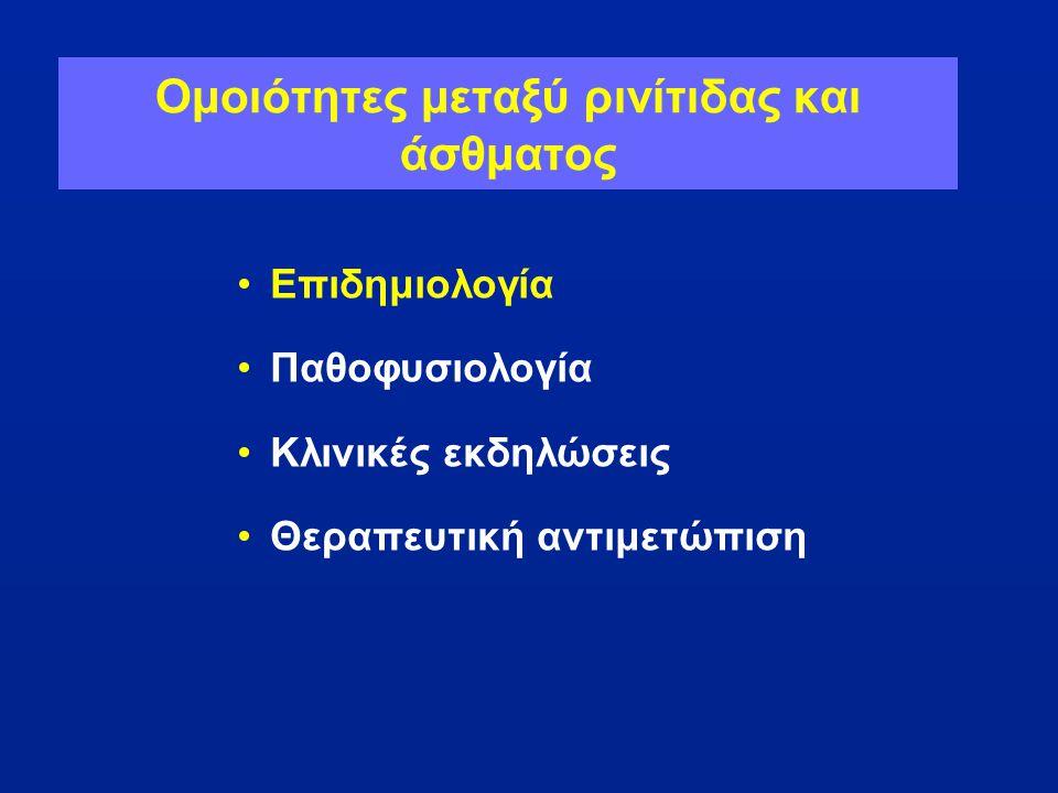 Οδηγίες ARIA: Ταξινόμηση της Αλλεργικής Ρινίτιδας Διαλείπουσα • <4 ημέρες την εβδομάδα • ή <4 εβδομάδες Εμμένουσα • 4 ημέρες την εβδομάδα • και >4 εβδομάδες Ήπια Κανονικός ύπνος και •Φυσιολογικές καθημερινές δραστηριότητες, άθληση και ψυχαγωγία •Κανονική δραστηριότητα στην εργασία ή το σχολείο •Χωρίς ενοχλητικά συμπτώματα Μέτρια-Σοβαρή 1 ή περισσότερα συμπτώματα •Διαταραχές του ύπνο •Ελάττωση των καθημερινών δραστηριοτήτων, άθληση και ψυχαγωγία •Προβλήματα στην εργασία ή στο σχολείο •Ενοχλητικά συμπτώματα