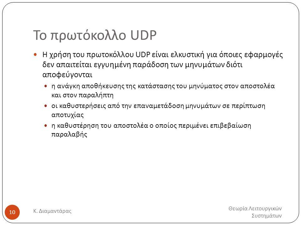Το πρωτόκολλο UDP Θεωρία Λειτουργικών Συστημάτων Κ. Διαμαντάρας 10  Η χρήση του πρωτοκόλλου UDP είναι ελκυστική για όποιες εφαρμογές δεν απαιτείται ε