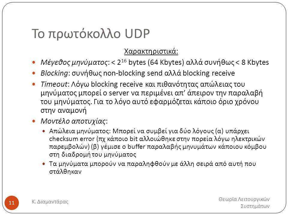 Το πρωτόκολλο UDP Θεωρία Λειτουργικών Συστημάτων Κ. Διαμαντάρας 11 Χαρακτηριστικά:  Μέγεθος μηνύματος: < 2 16 bytes (64 Kbytes) αλλά συνήθως < 8 Kbyt