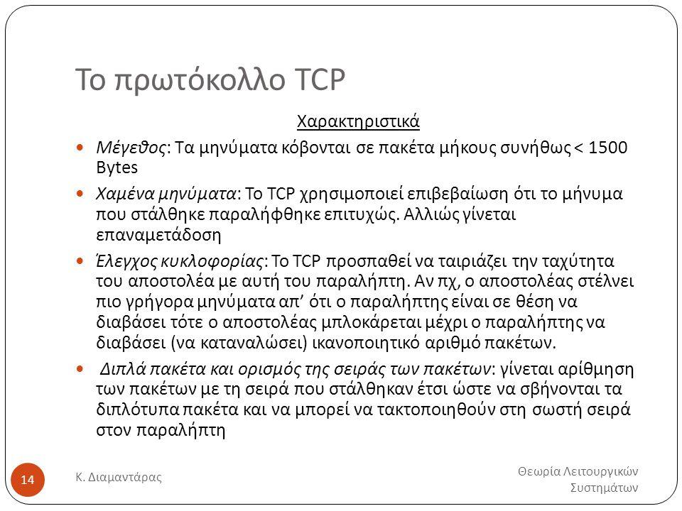 Το πρωτόκολλο TCP Θεωρία Λειτουργικών Συστημάτων Κ. Διαμαντάρας 14 Χαρακτηριστικά  Μέγεθος: Τα μηνύματα κόβονται σε πακέτα μήκους συνήθως < 1500 Byte