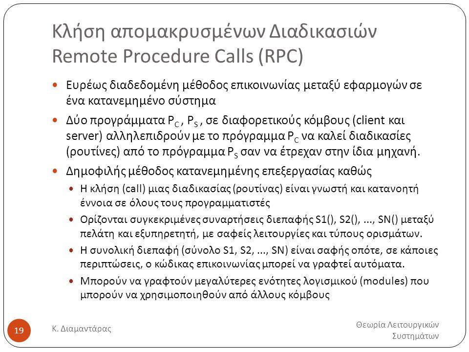 Κλήση απομακρυσμένων Διαδικασιών Remote Procedure Calls (RPC) Θεωρία Λειτουργικών Συστημάτων Κ. Διαμαντάρας 19  Ευρέως διαδεδομένη μέθοδος επικοινωνί
