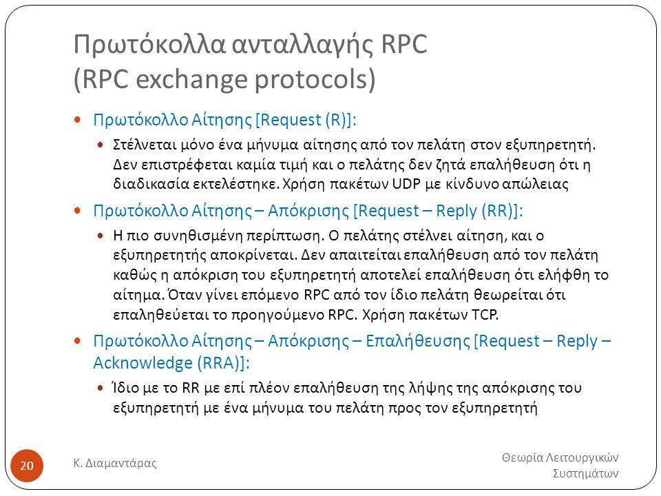 Πρωτόκολλα ανταλλαγής RPC (RPC exchange protocols) Θεωρία Λειτουργικών Συστημάτων Κ. Διαμαντάρας 20  Πρωτόκολλο Αίτησης [Request (R)]:  Στέλνεται μό
