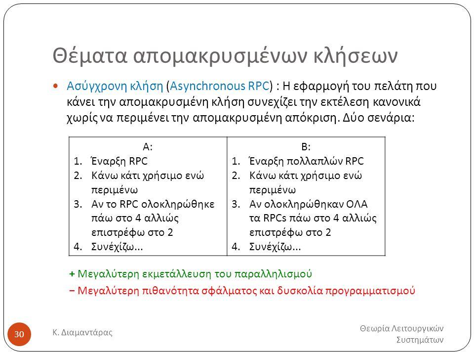 Θέματα απομακρυσμένων κλήσεων Θεωρία Λειτουργικών Συστημάτων Κ. Διαμαντάρας 30  Ασύγχρονη κλήση (Asynchronous RPC) : Η εφαρμογή του πελάτη που κάνει