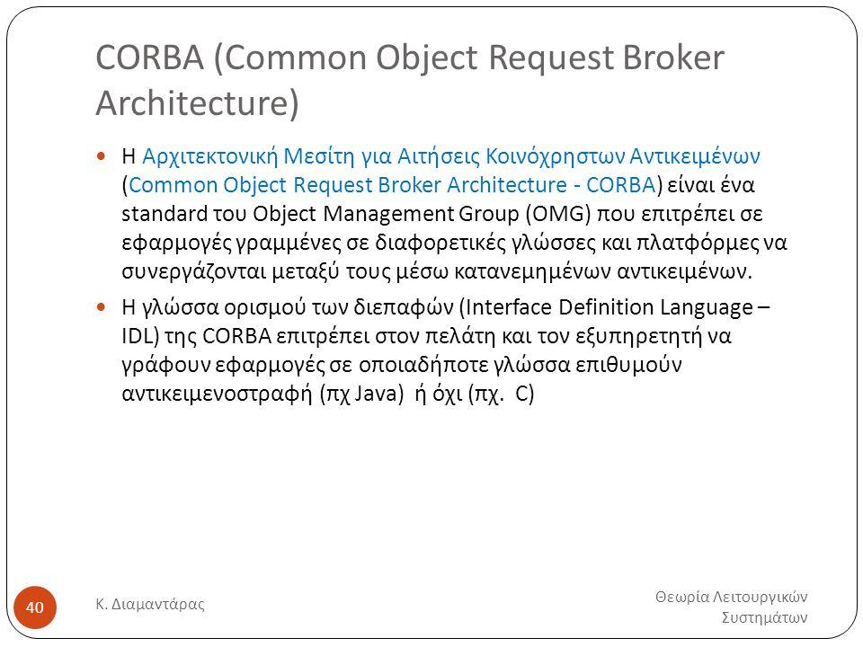 CORBA (Common Object Request Broker Architecture) Θεωρία Λειτουργικών Συστημάτων Κ. Διαμαντάρας 40  Η Αρχιτεκτονική Μεσίτη για Αιτήσεις Κοινόχρηστων