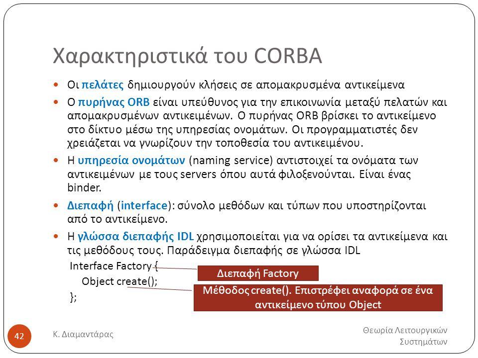 Χαρακτηριστικά του CORBA Θεωρία Λειτουργικών Συστημάτων Κ. Διαμαντάρας 42  Οι πελάτες δημιουργούν κλήσεις σε απομακρυσμένα αντικείμενα  Ο πυρήνας OR