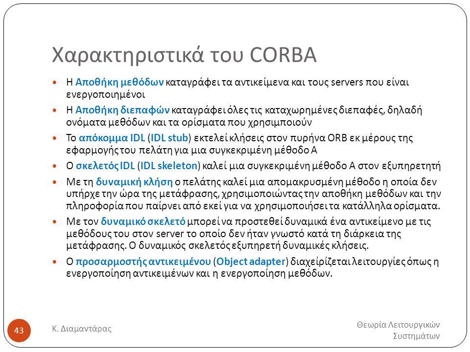 Χαρακτηριστικά του CORBA Θεωρία Λειτουργικών Συστημάτων Κ. Διαμαντάρας 43  Η Αποθήκη μεθόδων καταγράφει τα αντικείμενα και τους servers που είναι ενε