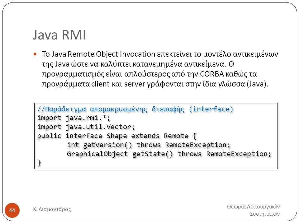 Java RMI Θεωρία Λειτουργικών Συστημάτων Κ. Διαμαντάρας 44  Το Java Remote Object Invocation επεκτείνει το μοντέλο αντικειμένων της Java ώστε να καλύπ