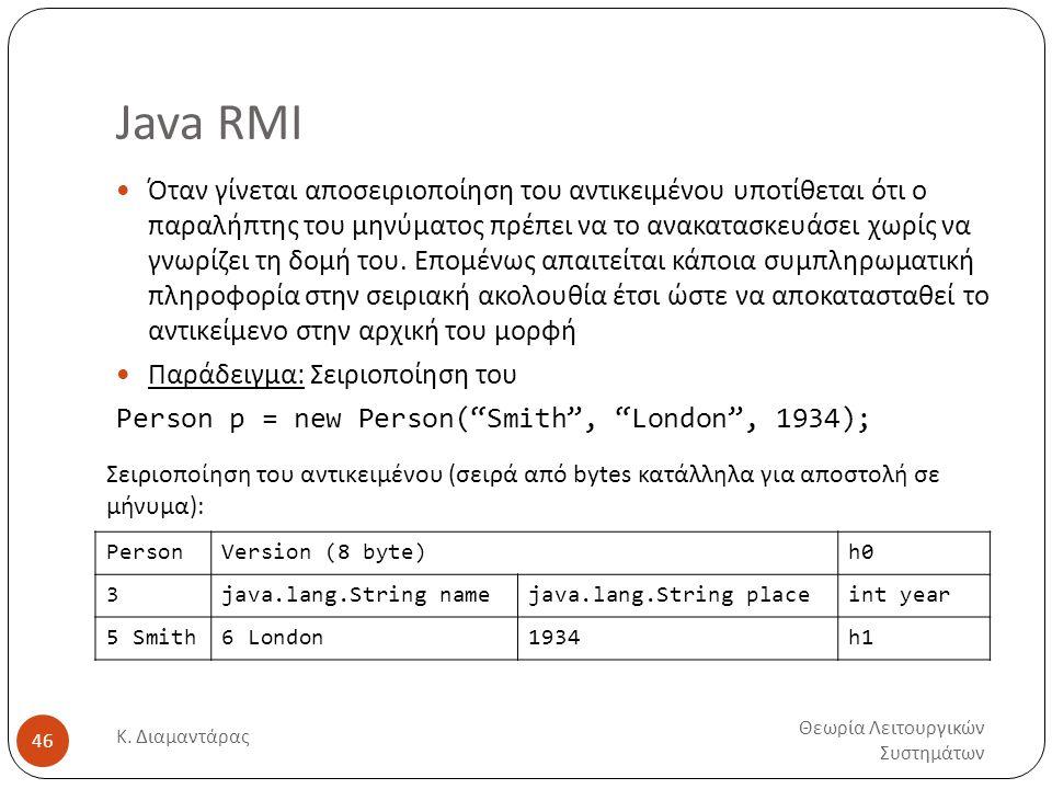 Java RMI Θεωρία Λειτουργικών Συστημάτων Κ. Διαμαντάρας 46  Όταν γίνεται αποσειριοποίηση του αντικειμένου υποτίθεται ότι ο παραλήπτης του μηνύματος πρ