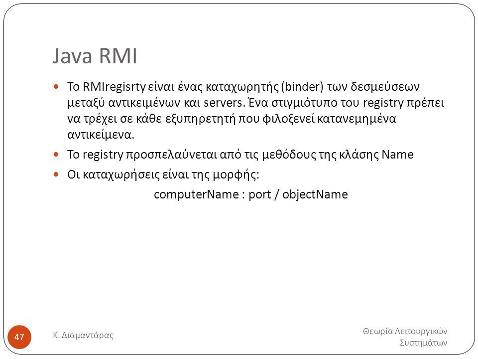 Java RMI Θεωρία Λειτουργικών Συστημάτων Κ. Διαμαντάρας 47  Το RMIregisrty είναι ένας καταχωρητής (binder) των δεσμεύσεων μεταξύ αντικειμένων και serv