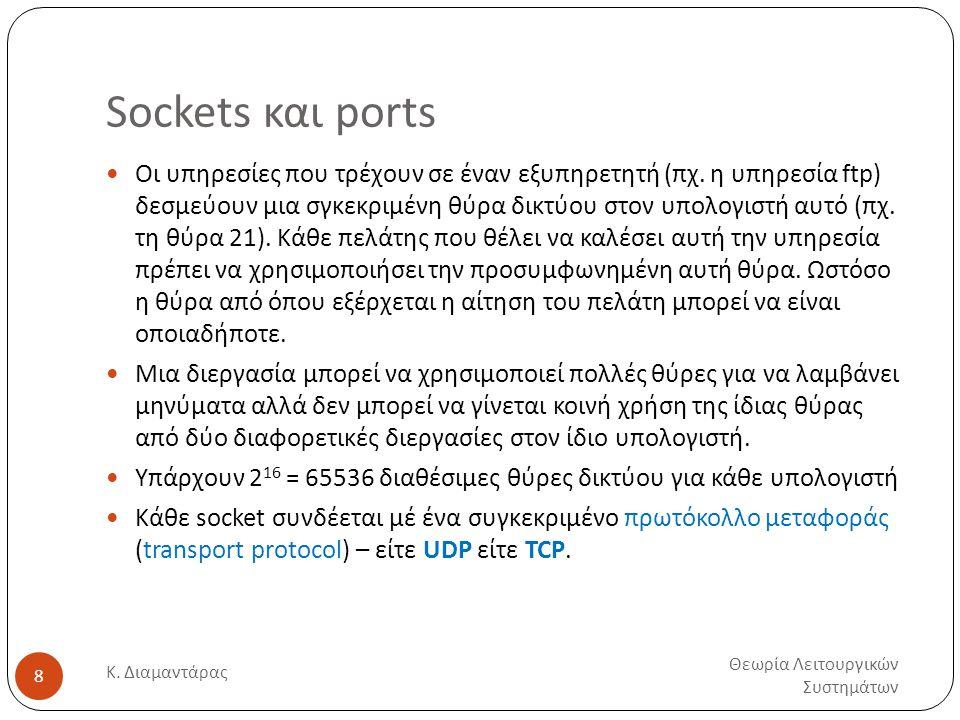 Sockets και ports Θεωρία Λειτουργικών Συστημάτων Κ. Διαμαντάρας 8  Οι υπηρεσίες που τρέχουν σε έναν εξυπηρετητή (πχ. η υπηρεσία ftp) δεσμεύουν μια σγ