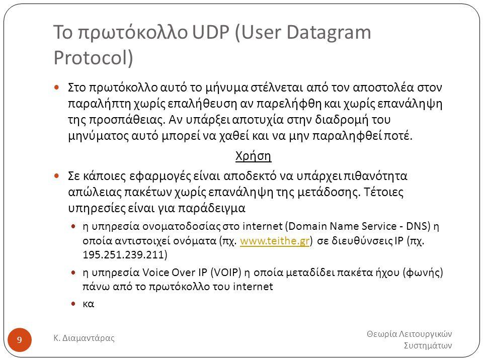 Το πρωτόκολλο UDP (User Datagram Protocol) Θεωρία Λειτουργικών Συστημάτων Κ. Διαμαντάρας 9  Στο πρωτόκολλο αυτό το μήνυμα στέλνεται από τον αποστολέα