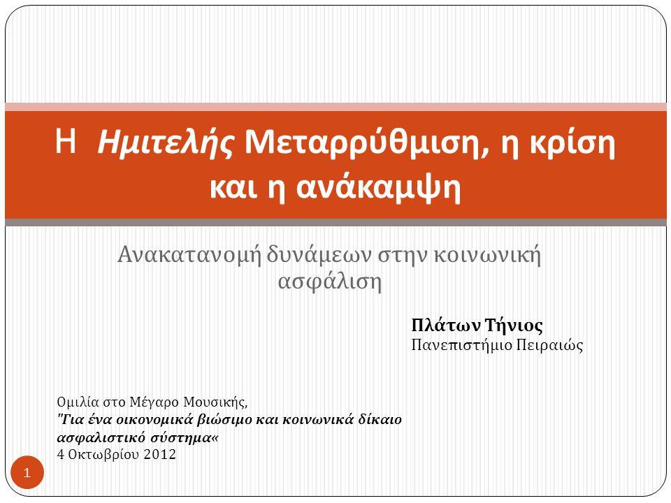 Ανακατανομή δυνάμεων στην κοινωνική ασφάλιση H Ημιτελής Μεταρρύθμιση, η κρίση και η ανάκαμψη Πλάτων Τήνιος Πανεπιστήμιο Πειραιώς 1 Ομιλία στο Μέγαρο Μουσικής, Για ένα οικονομικά βιώσιμο και κοινωνικά δίκαιο ασφαλιστικό σύστημα« 4 Οκτωβρίου 2012