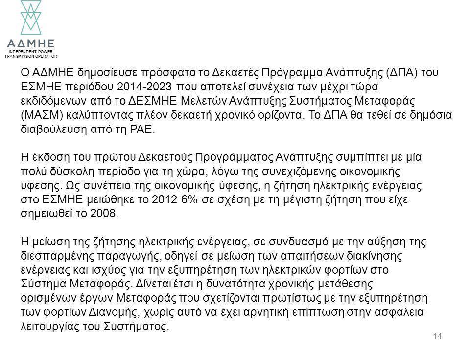 INDEPENDENT POWER TRANSMISSION OPERATOR 14 Ο ΑΔΜΗΕ δημοσίευσε πρόσφατα το Δεκαετές Πρόγραμμα Ανάπτυξης (ΔΠΑ) του ΕΣΜΗΕ περιόδου 2014-2023 που αποτελεί συνέχεια των μέχρι τώρα εκδιδόμενων από το ΔΕΣΜΗΕ Μελετών Ανάπτυξης Συστήματος Μεταφοράς (ΜΑΣΜ) καλύπτοντας πλέον δεκαετή χρονικό ορίζοντα.