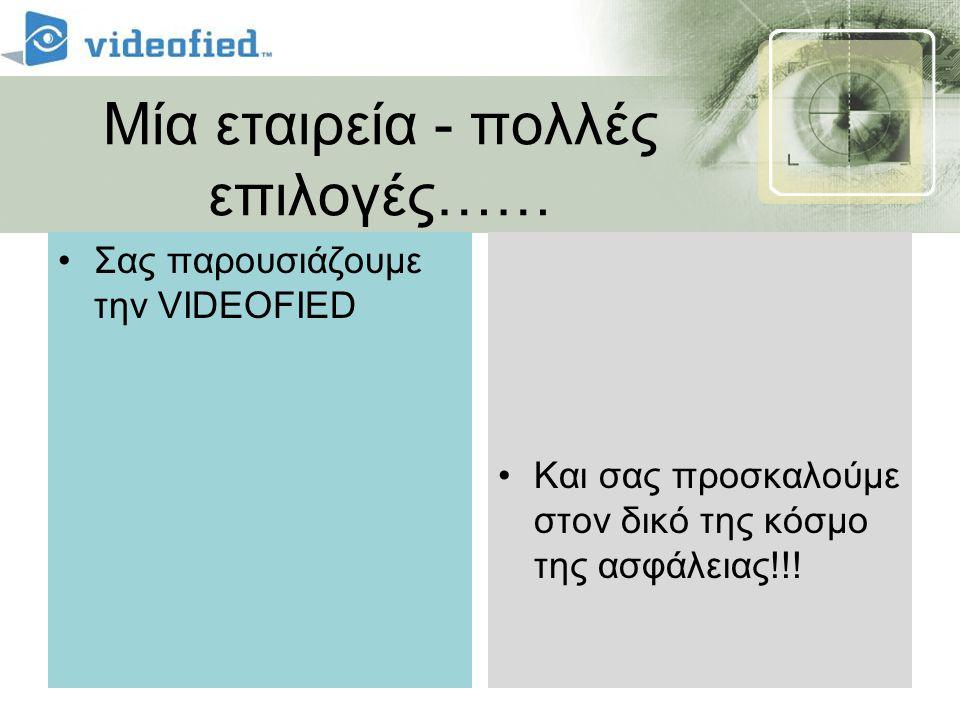 Μία εταιρεία - πολλές επιλογές…… •Σας παρουσιάζουμε την VIDEOFIED •Και σας προσκαλούμε στον δικό της κόσμο της ασφάλειας!!!
