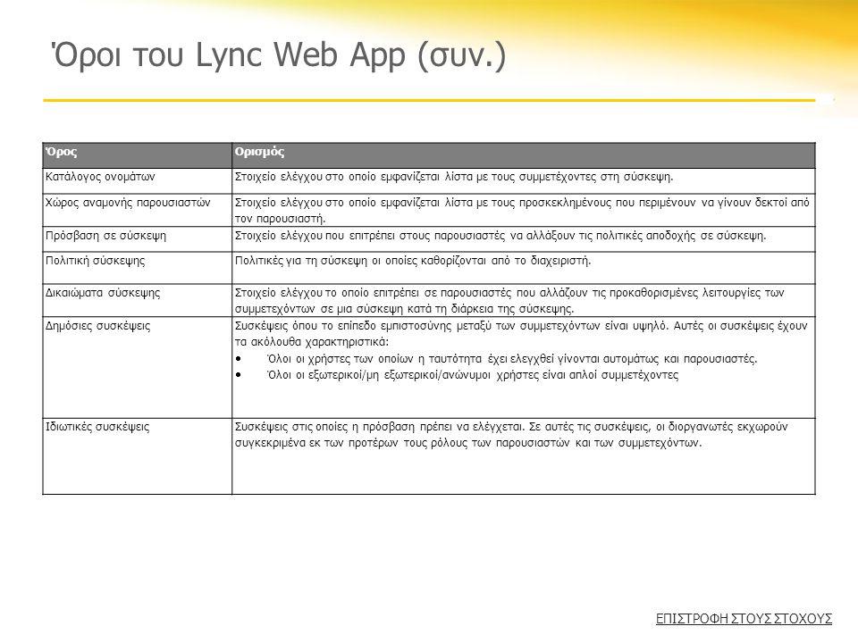 Όροι του Lync Web App (συν.) ΌροςΟρισμός Κατάλογος ονομάτωνΣτοιχείο ελέγχου στο οποίο εμφανίζεται λίστα με τους συμμετέχοντες στη σύσκεψη.