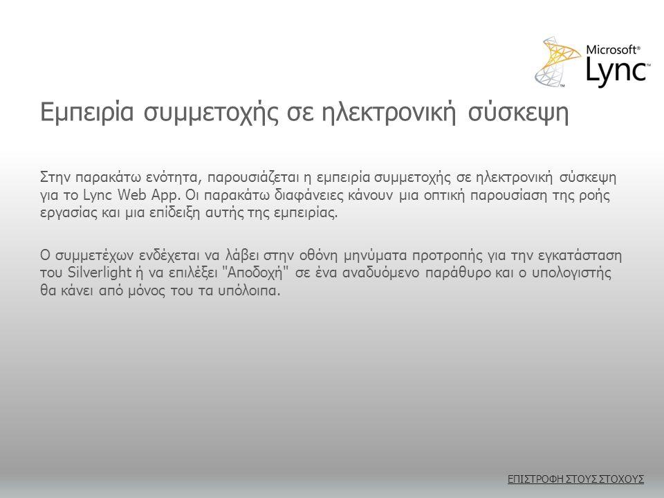 Εμπειρία συμμετοχής σε ηλεκτρονική σύσκεψη Στην παρακάτω ενότητα, παρουσιάζεται η εμπειρία συμμετοχής σε ηλεκτρονική σύσκεψη για το Lync Web App.