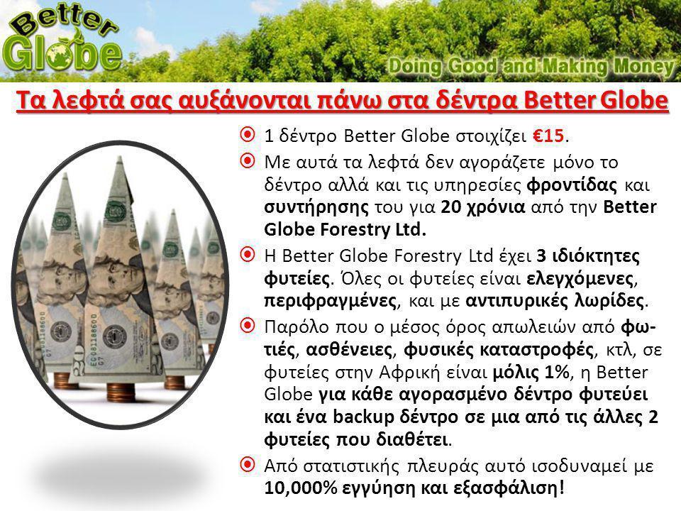  1 δέντρο Better Globe στοιχίζει €15.  Με αυτά τα λεφτά δεν αγοράζετε μόνο το δέντρο αλλά και τις υπηρεσίες φροντίδας και συντήρησης του για 20 χρόν