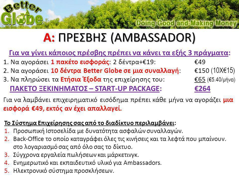 Για να γίνει κάποιος πρέσβης πρέπει να κάνει τα εξής 3 πράγματα: 1. Να αγοράσει 1 πακέτο εισφοράς: 2 δέντρα+€19:€49 2. Να αγοράσει 10 δέντρα Better Gl