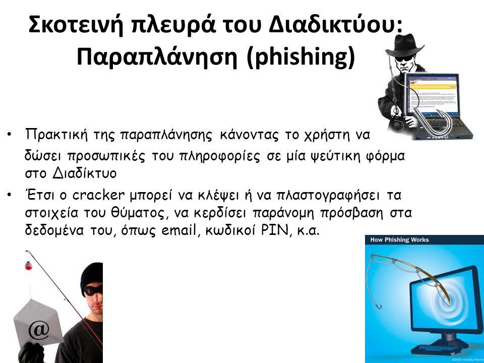 • Πρακτική της παραπλάνησης κάνοντας το χρήστη να δώσει προσωπικές του πληροφορίες σε μία ψεύτικη φόρμα στο Διαδίκτυο • Έτσι ο cracker μπορεί να κλέψει ή να πλαστογραφήσει τα στοιχεία του θύματος, να κερδίσει παράνομη πρόσβαση στα δεδομένα του, όπως email, κωδικοί PIN, κ.α.