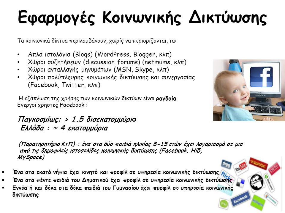 Εφαρμογές Κοινωνικής Δικτύωσης Τα κοινωνικά δίκτυα περιλαμβάνουν, χωρίς να περιορίζονται, τα: • Απλά ιστολόγια (Blogs) (WordPress, Blogger, κλπ) • Χώροι συζητήσεων (discussion forums) (netmums, κλπ) • Χώροι ανταλλαγής μηνυμάτων (MSN, Skype, κλπ) • Χώροι πολύπλευρης κοινωνικής δικτύωσης και συνεργασίας (Facebook, Twitter, κλπ) Η εξάπλωση της χρήσης των κοινωνικών δικτύων είναι ραγδαία.