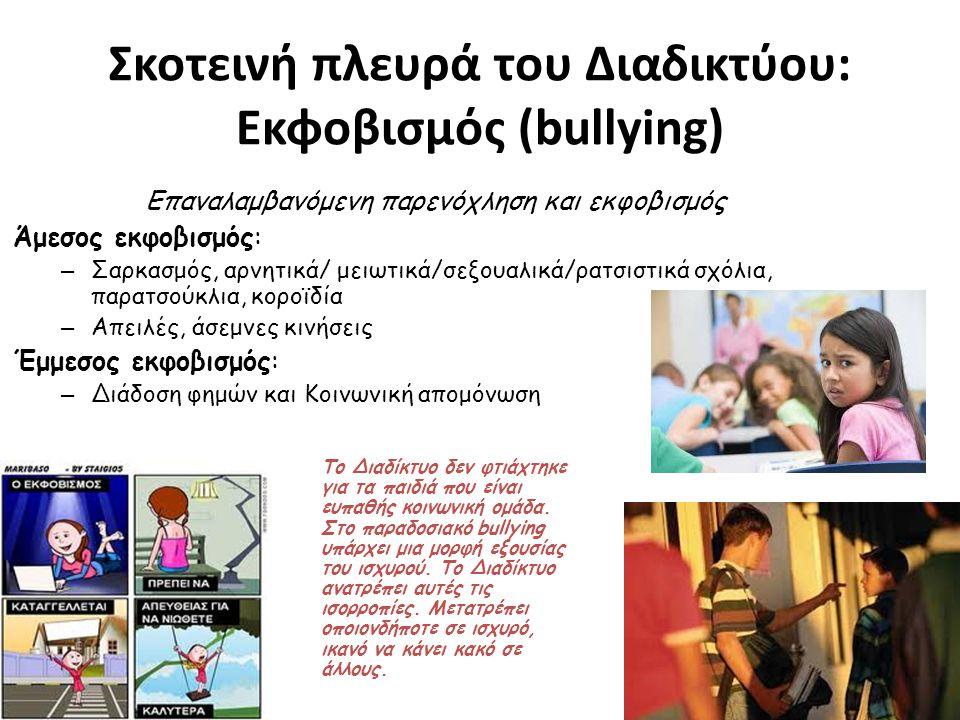 Σκοτεινή πλευρά του Διαδικτύου: Εκφοβισμός (bullying) Επαναλαμβανόμενη παρενόχληση και εκφοβισμός Άμεσος εκφοβισμός: – Σαρκασμός, αρνητικά/ μειωτικά/σεξουαλικά/ρατσιστικά σχόλια, παρατσούκλια, κοροϊδία – Απειλές, άσεμνες κινήσεις Έμμεσος εκφοβισμός: – Διάδοση φημών και Κοινωνική απομόνωση Το Διαδίκτυο δεν φτιάχτηκε για τα παιδιά που είναι ευπαθής κοινωνική ομάδα.