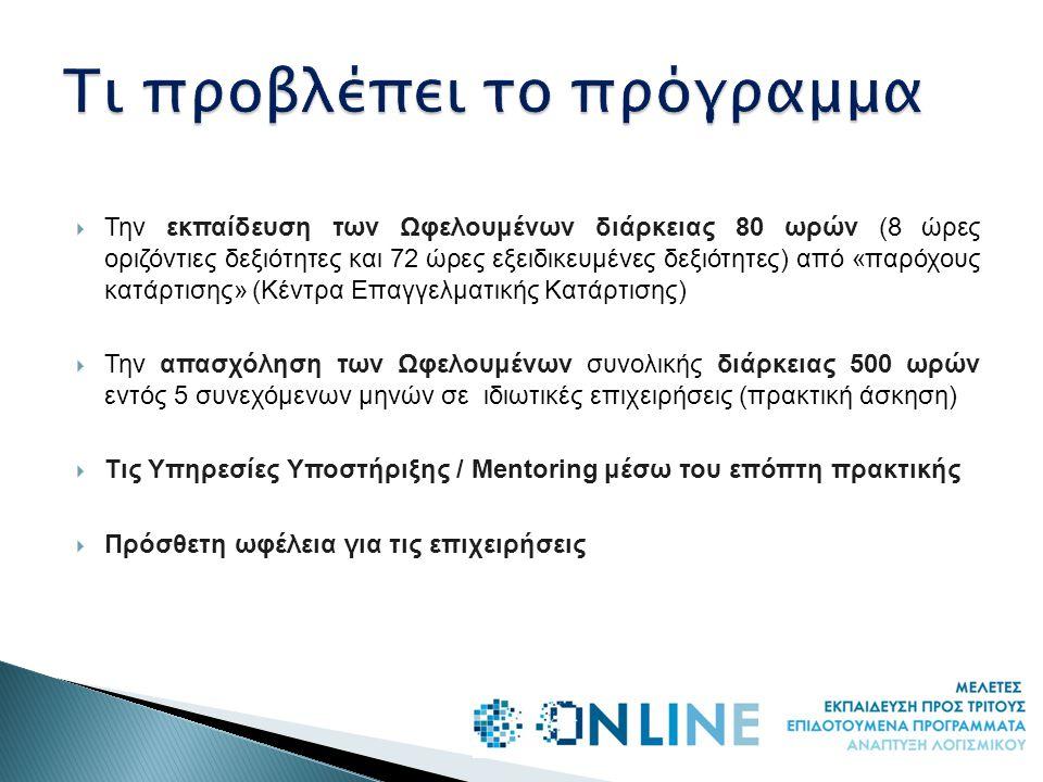  Την εκπαίδευση των Ωφελουμένων διάρκειας 80 ωρών (8 ώρες οριζόντιες δεξιότητες και 72 ώρες εξειδικευμένες δεξιότητες) από «παρόχους κατάρτισης» (Κέντρα Επαγγελματικής Κατάρτισης)  Την απασχόληση των Ωφελουμένων συνολικής διάρκειας 500 ωρών εντός 5 συνεχόμενων μηνών σε ιδιωτικές επιχειρήσεις (πρακτική άσκηση)  Τις Υπηρεσίες Υποστήριξης / Mentoring μέσω του επόπτη πρακτικής  Πρόσθετη ωφέλεια για τις επιχειρήσεις