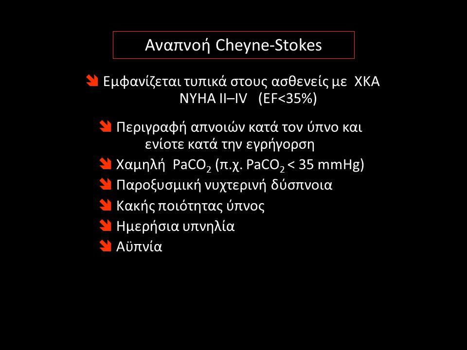  Εμφανίζεται τυπικά στους ασθενείς με ΧΚΑ NYHA II–IV (EF<35%) Αναπνοή Cheyne-Stokes  Περιγραφή απνοιών κατά τον ύπνο και ενίοτε κατά την εγρήγορση 