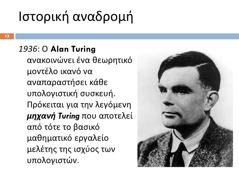 Ιστορική αναδρομή 1936: Ο Alan Turing ανακοινώνει ένα θεωρητικό μοντέλο ικανό να αναπαραστήσει κάθε υπολογιστική συσκευή.