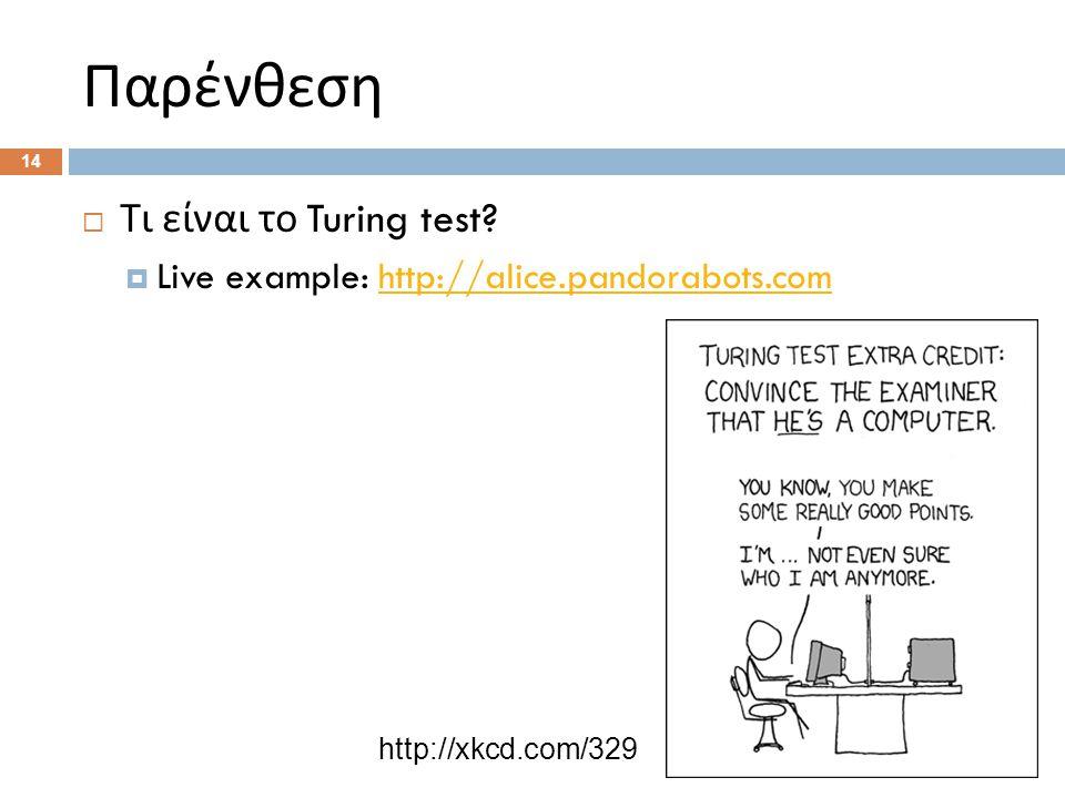 Παρένθεση  Τι είναι το Turing test.