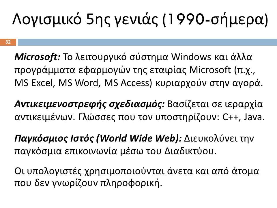 Λογισμικό 5 ης γενιάς (1990- σήμερα ) Microsoft: Το λειτουργικό σύστημα Windows και άλλα προγράμματα εφαρμογών της εταιρίας Microsoft (π.χ., MS Excel, MS Word, MS Access) κυριαρχούν στην αγορά.