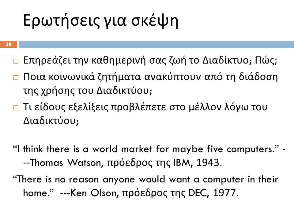 Ερωτήσεις για σκέψη  Επηρεάζει την καθημερινή σας ζωή το Διαδίκτυο ; Πώς ;  Ποια κοινωνικά ζητήματα ανακύπτουν από τη διάδοση της χρήσης του Διαδικτύου ;  Τι είδους εξελίξεις προβλέπετε στο μέλλον λόγω του Διαδικτύου ; I think there is a world market for maybe five computers. - --Thomas Watson, πρόεδρος της IBM, 1943.