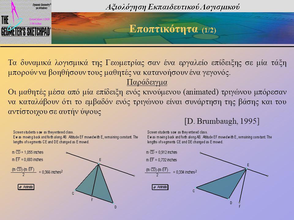 Αξιολόγηση Εκπαιδευτικού Λογισμικού Εποπτικότητα (1/2) Τα δυναμικά λογισμικά της Γεωμετρίας σαν ένα εργαλείο επίδειξης σε μία τάξη μπορούν να βοηθήσου
