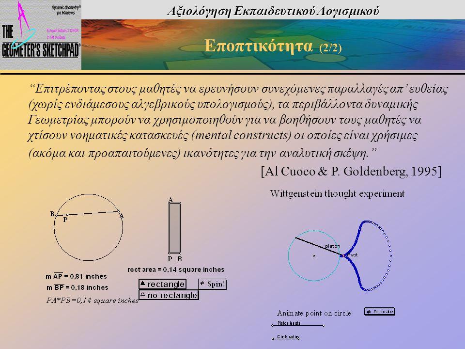 """Αξιολόγηση Εκπαιδευτικού Λογισμικού Εποπτικότητα (2/2) """"Επιτρέποντας στους μαθητές να ερευνήσουν συνεχόμενες παραλλαγές απ' ευθείας (χωρίς ενδιάμεσους"""
