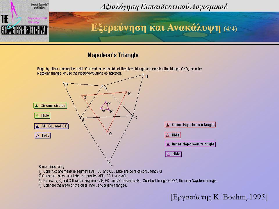 Αξιολόγηση Εκπαιδευτικού Λογισμικού Εξερεύνηση και Ανακάλυψη (4/4) [Εργασία της K. Boehm, 1995]
