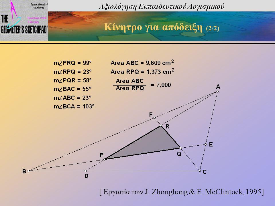 Αξιολόγηση Εκπαιδευτικού Λογισμικού Κίνητρο για απόδειξη (2/2) [ Εργασία των J. Zhonghong & E. McClintock, 1995]
