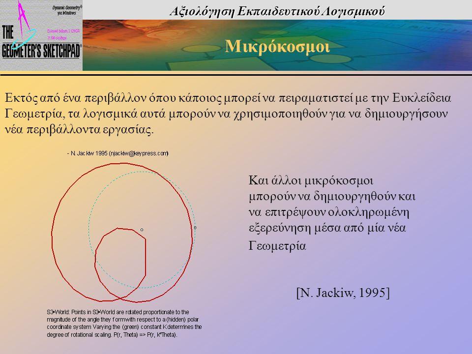 Αξιολόγηση Εκπαιδευτικού Λογισμικού Μικρόκοσμοι Εκτός από ένα περιβάλλον όπου κάποιος μπορεί να πειραματιστεί με την Ευκλείδεια Γεωμετρία, τα λογισμικ