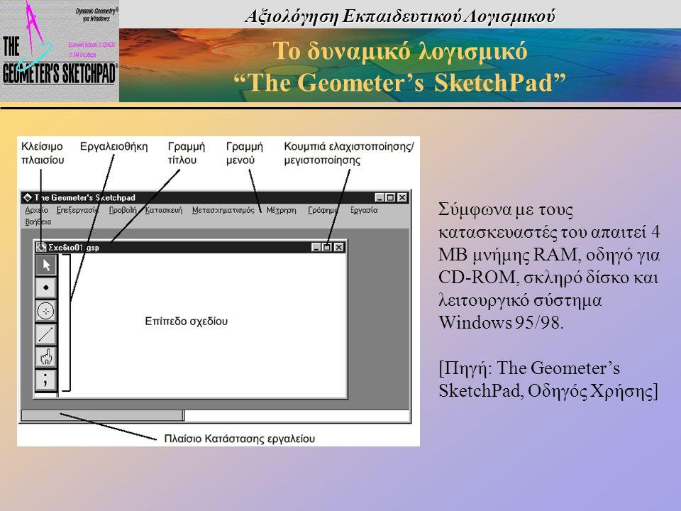 Σύμφωνα με τους κατασκευαστές του απαιτεί 4 ΜΒ μνήμης RAM, οδηγό για CD-ROM, σκληρό δίσκο και λειτουργικό σύστημα Windows 95/98. [Πηγή: The Geometer's