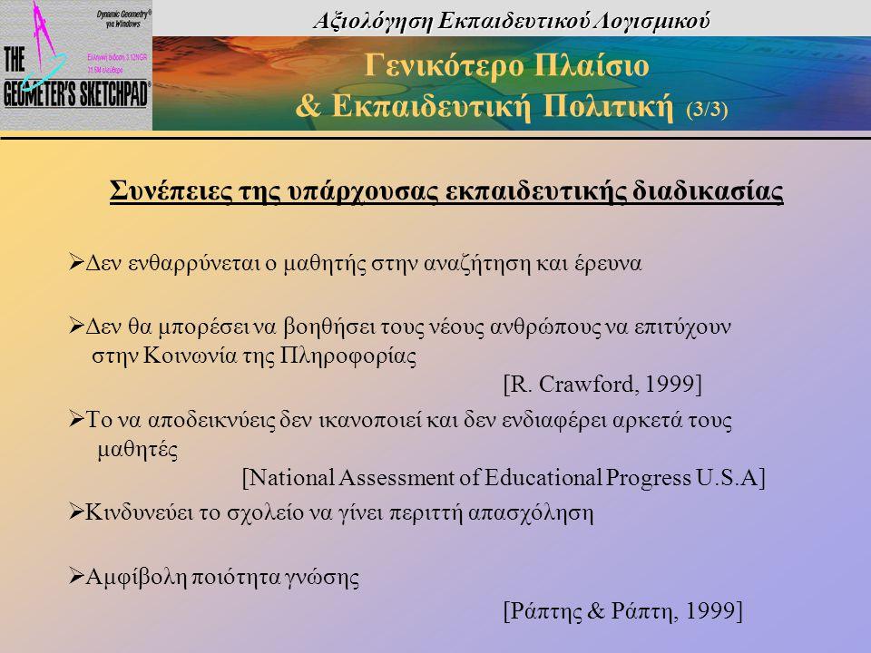 Αξιολόγηση Εκπαιδευτικού Λογισμικού Γενικότερο Πλαίσιο & Εκπαιδευτική Πολιτική (3/3) Συνέπειες της υπάρχουσας εκπαιδευτικής διαδικασίας  Δεν ενθαρρύν