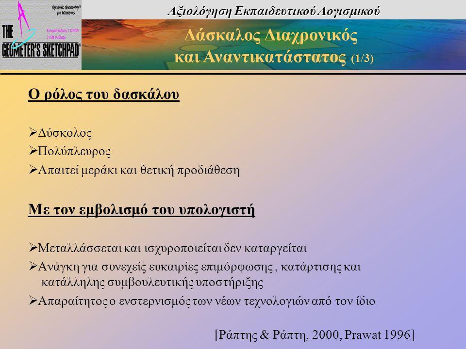 Αξιολόγηση Εκπαιδευτικού Λογισμικού Δάσκαλος Διαχρονικός και Αναντικατάστατος (1/3) Ο ρόλος του δασκάλου  Δύσκολος  Πολύπλευρος  Απαιτεί μεράκι και