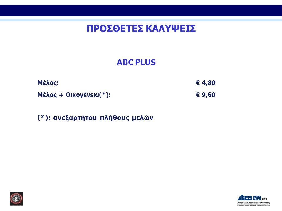 ABC PLUS Μέλος:€ 4,80 Μέλος + Οικογένεια(*):€ 9,60 (*): ανεξαρτήτου πλήθους μελών