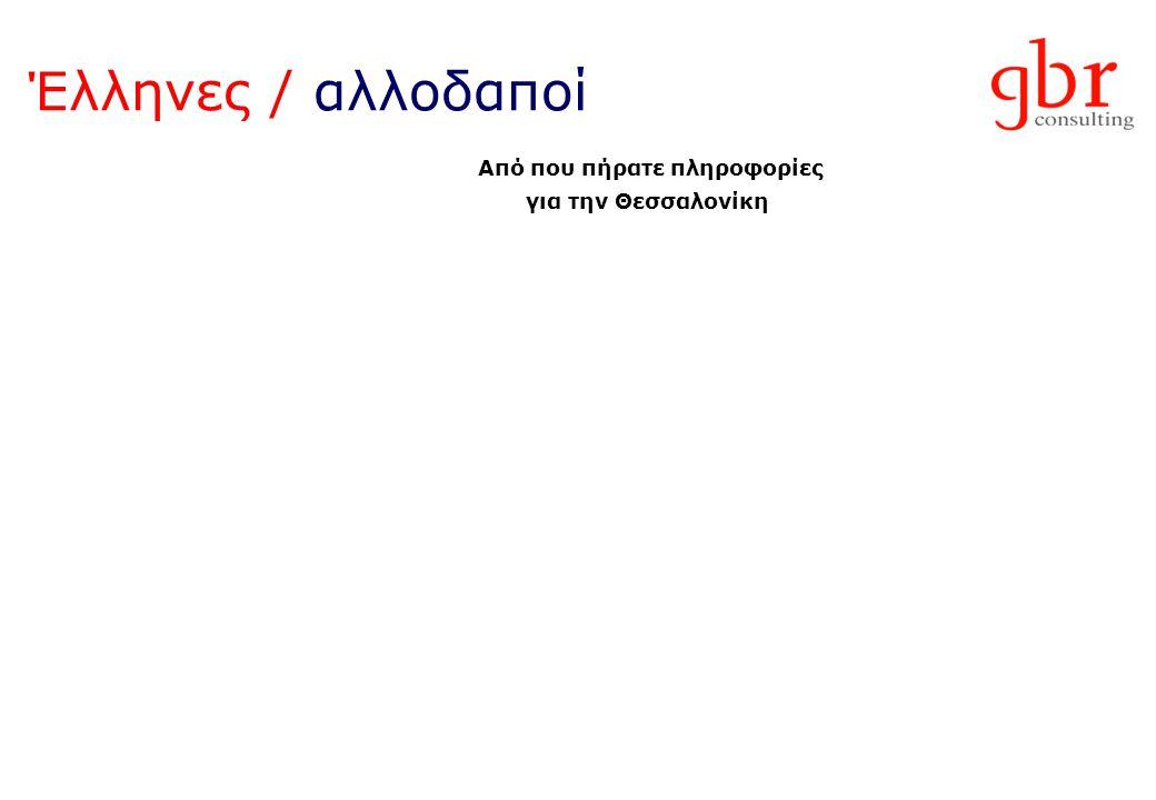 Έλληνες / αλλοδαποί Από που πήρατε πληροφορίες για την Θεσσαλονίκη