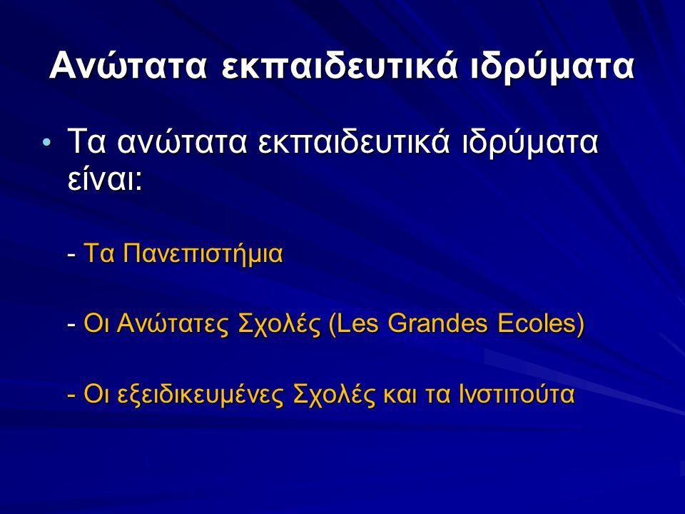 Ανώτατα εκπαιδευτικά ιδρύματα • Τα ανώτατα εκπαιδευτικά ιδρύματα είναι: - Τα Πανεπιστήμια - Οι Ανώτατες Σχολές (Les Grandes Ecoles) - Οι εξειδικευμένες Σχολές και τα Ινστιτούτα